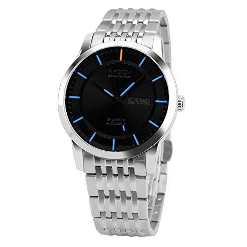 Epoch 6023 GN Wasserdicht 100 m Tritium Gas blau Luminous Stahl schwarz Zifferblatt Herren Business Mechanische Uhr Armbanduhr