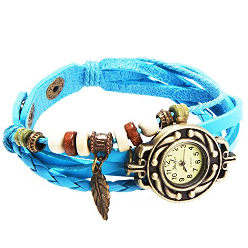 Armbanduhr blau Anhaenger Blatt und perlen Wildlederleder