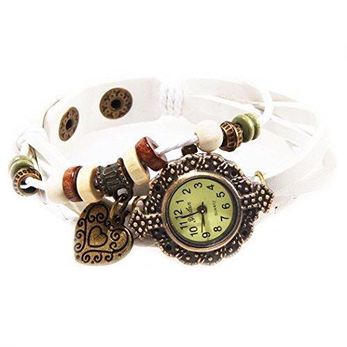 Armbanduhr Leder Blanc Anhaenger Herzen und perlen Wildlederleder