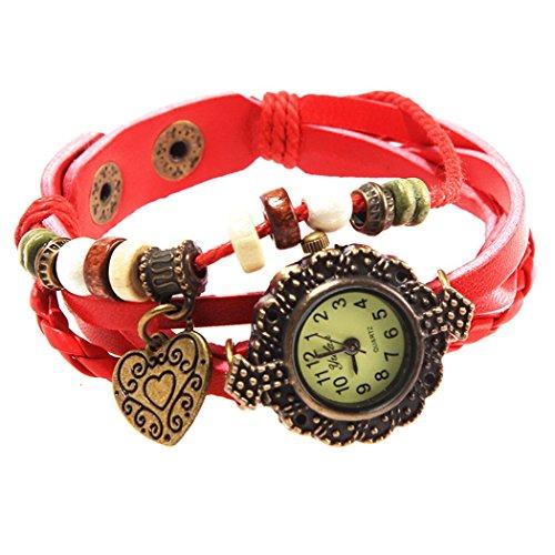 Armbanduhr in Anhaenger Herzen und perlen Wildlederleder
