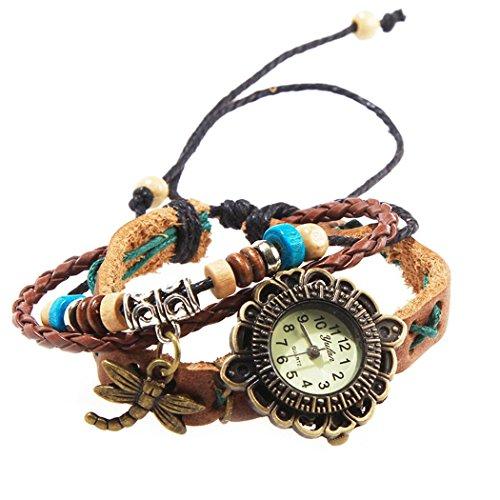Armbanduhr Brown Kreuz und blauen Naehten mit Anhaenger Libellen und perlen Wildlederleder
