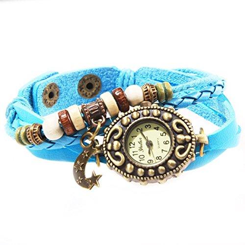 Armbanduhr Blaues Leder Anhaenger Mond und perlen Wildlederleder