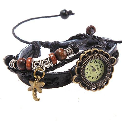 Armbanduhr schwarz Kreuzstich mit Anhaengern Libellen und dunklen perlen Wildlederleder