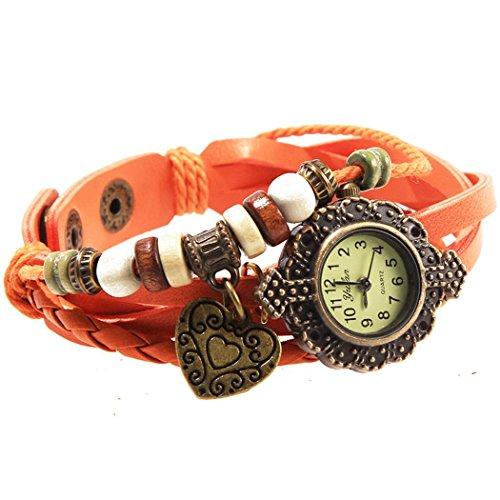Armbanduhr Orange Anhaenger Herzen und perlen Wildlederleder
