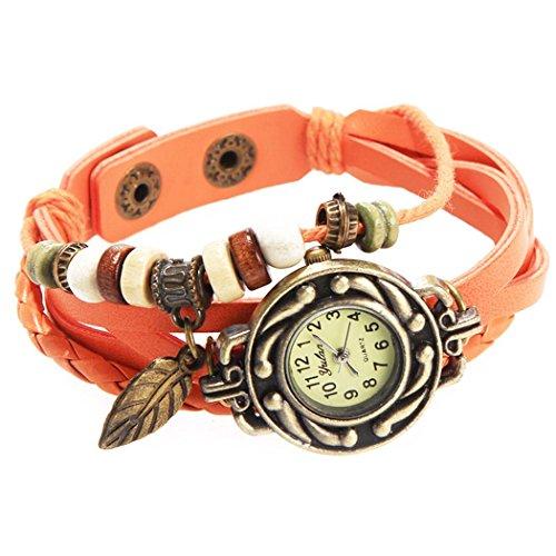 Armbanduhr Orange Anhaenger Blatt und perlen Wildlederleder