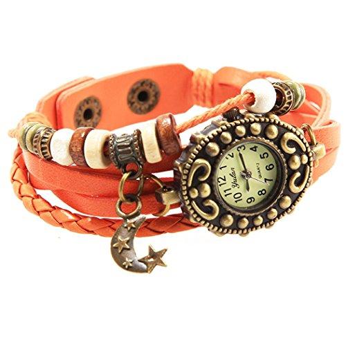 Armbanduhr Leder orange perlen Wildlederleder und Anhaenger Mond