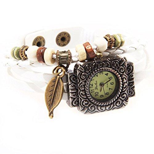 Armbanduhr quadratischen Zifferblatt weiss Anhaenger Blatt und perlen Wildlederleder