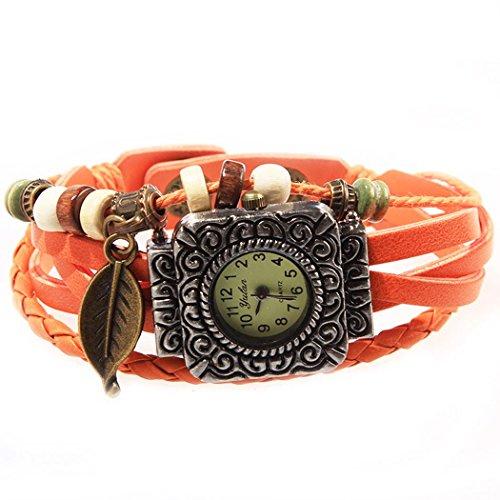 Armbanduhr quadratischen Zifferblatt Orange Anhaenger Blatt und perlen Wildlederleder