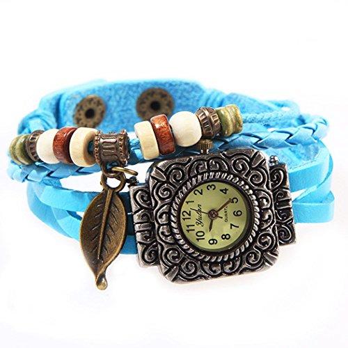 Armbanduhr quadratischen Zifferblatt blau Anhaenger Blatt und perlen Wildlederleder