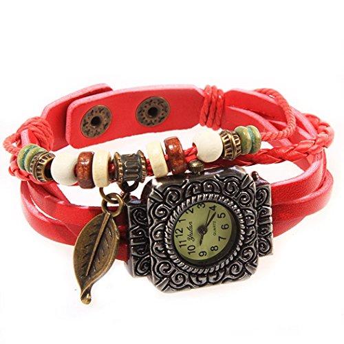 Armbanduhr quadratischen Zifferblatt red Anhaenger Blatt und perlen Wildlederleder