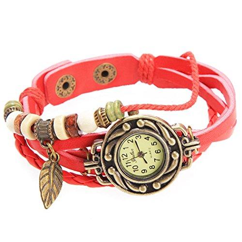 Armbanduhr rotem Anhaenger Blatt und perlen Wildlederleder