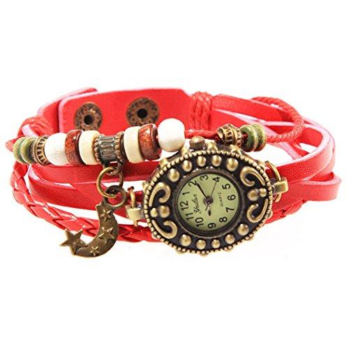 Armbanduhr Rotem Mond Anhaenger und perlen Wildlederleder