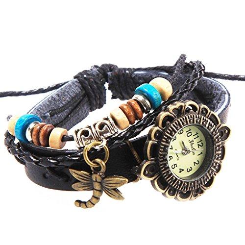 Armbanduhr schwarz Kreuzstich mit Anhaengern Libelle und klaren perlen Wildlederleder