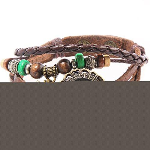 Armbanduhr Zifferblatt retro braun Anhaenger Feigenblatt und gruenen perlen Wildlederleder
