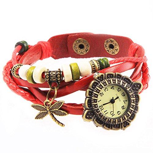 Armbanduhr Zifferblatt retro red Anhaenger Grosslibellen und perlen Wildlederleder