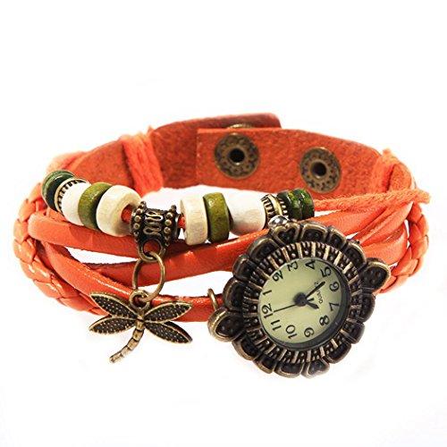 Armbanduhr Zifferblatt retro orange Anhaenger Grosslibellen und perlen Wildlederleder
