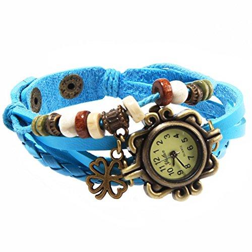 Armbanduhr Zifferblatt retro blau Anhaenger Klee und perlen Wildlederleder