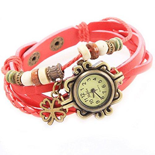 Armbanduhr Zifferblatt retro red Anhaenger Klee und perlen Wildlederleder