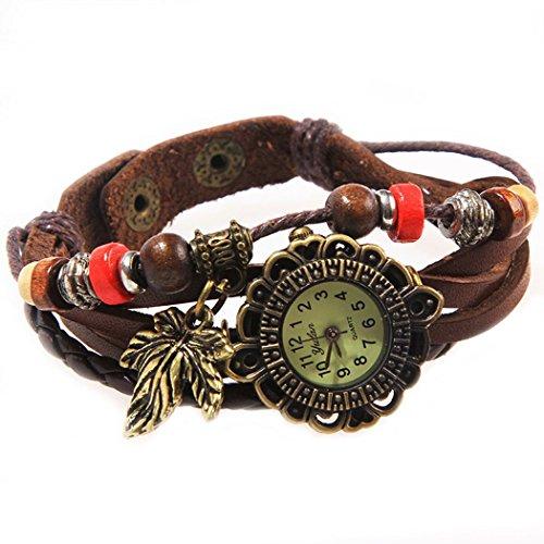 Armbanduhr Zifferblatt retro braun Anhaenger Feigenblatt und orangefarbenen perlen Wildlederleder