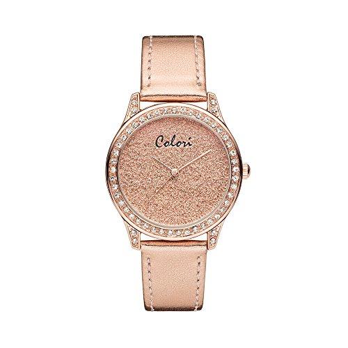Colori Watch Damenuhr Supreme Zirkonia Lederband 37mm rose