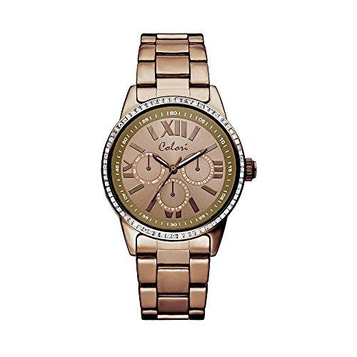 Colori Watch Damenuhr Supreme Zirkonia Metallarmband 37mm braun