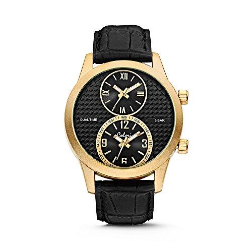 Colori Watch Herrenuhr Dual Time 51mm schwarz gold