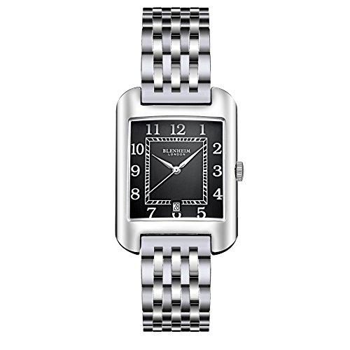 Blenheim London B3180 Curve Armbanduhr Schwarz Arabisch Ziffer mit Silber Haende mit Edelstahl Gurt