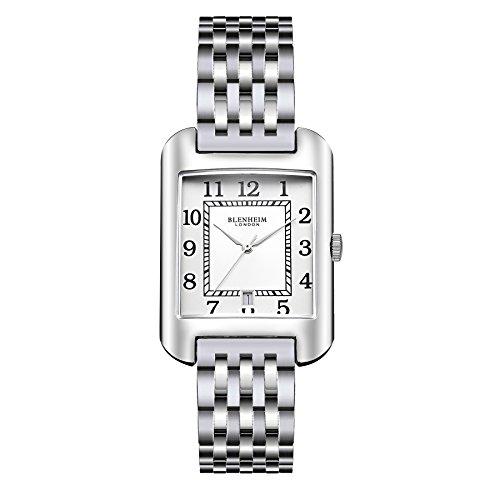 Blenheim London B3180 Curve Armbanduhr Weiss Arabisch Ziffer mit Remasuri Haende mit Edelstahl Gurt