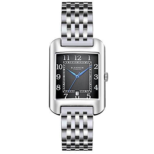 Blenheim London B3180 Curve Armbanduhr Schwarz Arabisch Ziffer mit Blau Haende mit Edelstahl Gurt