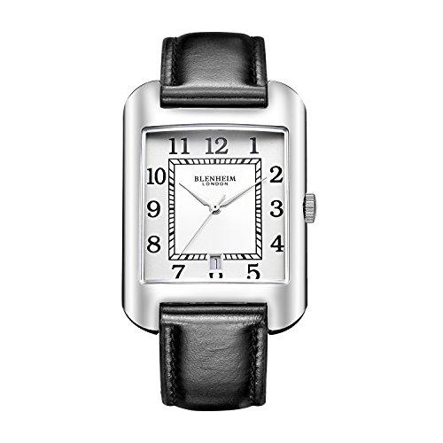 Blenheim London B3180 Curve Armbanduhr Weiss Arabisch Ziffer mit Remasuri Haende mit Lederband