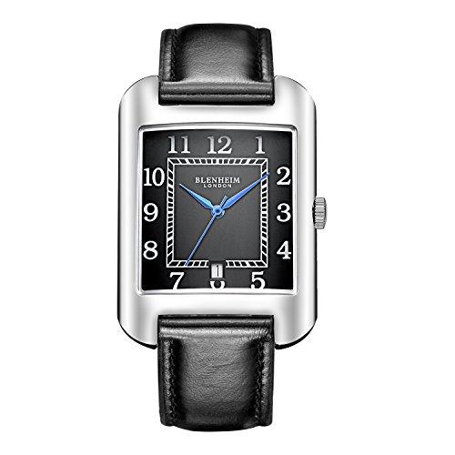 Blenheim London B3180 Curve Armbanduhr Schwarz Arabisch Ziffer mit Blau Haende mit Schwarz Lederband