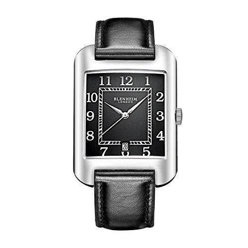 Blenheim London B3180 Curve Armbanduhr Schwarz Arabisch Ziffer mit Silber Haende mit Schwarz Lederband