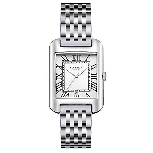 Blenheim London B3180 Curve Armbanduhr Weiss Roemische Zahl mit Remasuri Haende mit Edelstahl Gurt