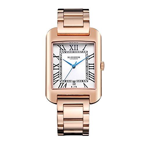 Blenheim London B3180 Curve Rose Gold Armbanduhr Weiss Roemische Zahl mit blauen Haende mit Edelstahl Gurt