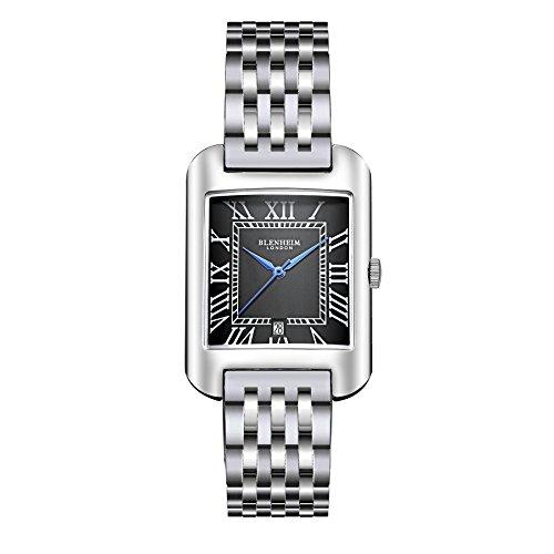 Blenheim London B3180 Curve Armbanduhr Schwarz Roemische Zahl mit blauen Haende mit Edelstahl Gurt