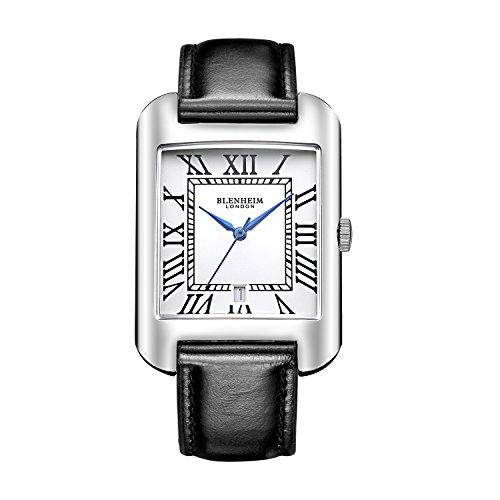 Blenheim London B3180 Curve Armbanduhr Weiss Roemische Zahl mit Blau Haende mit Schwarz Lederband