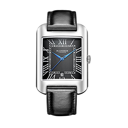 Blenheim London B3180 Curve Armbanduhr Schwarz Roemische Zahl mit Blau Haende mit Schwarz Lederband