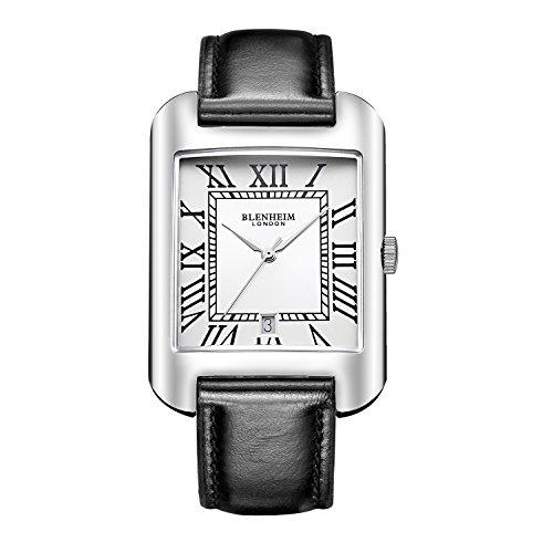 Blenheim London B3180 Curve Armbanduhr Weiss Roemische Zahl mit Remasuri Haende mit Schwarz Lederband