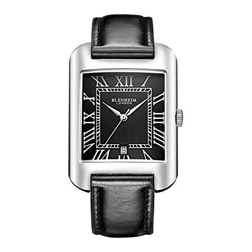 Blenheim London B3180 Curve Armbanduhr Schwarz Roemische Zahl mit Silber Haende mit Schwarz Lederband