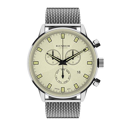 Blenheim London Chronomaster beige Zifferblatt Pilot Armbanduhr mit Edelstahl Gurt