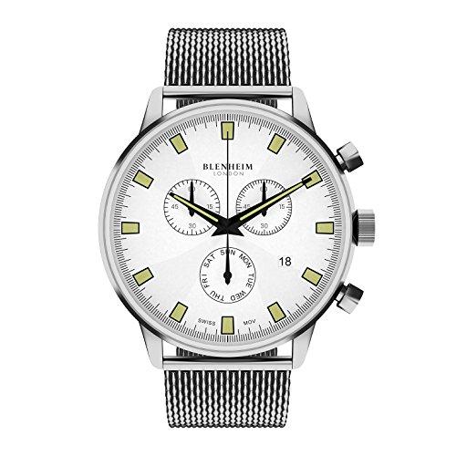 Blenheim London Chronomaster weiss Zifferblatt Pilot Armbanduhr mit Edelstahl Gurt