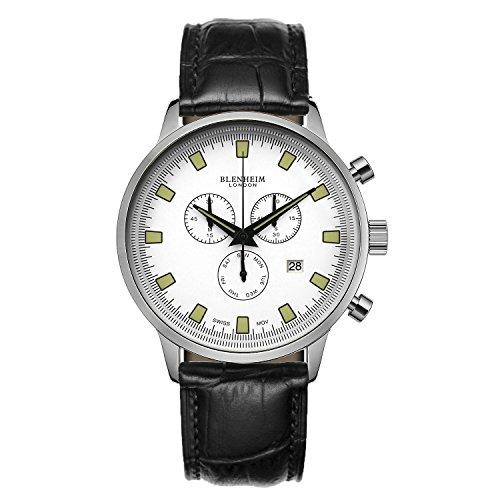 Blenheim London Chronomaster weiss Zifferblatt Pilot Uhr mit Lederband