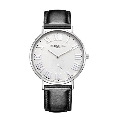 Blenheim London Sales weiss Zifferblatt und Silber Zeiger mit schwarzem Lederband