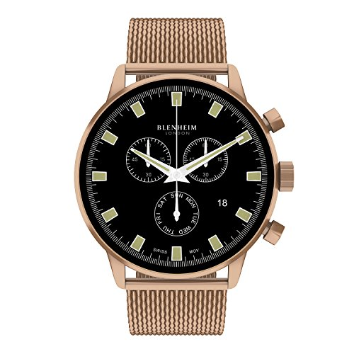 Blenheim London Chronomaster schwarz Zifferblatt Pilot Uhr mit Rose Gold Fall mit Rose Gold Edelstahl Gurt