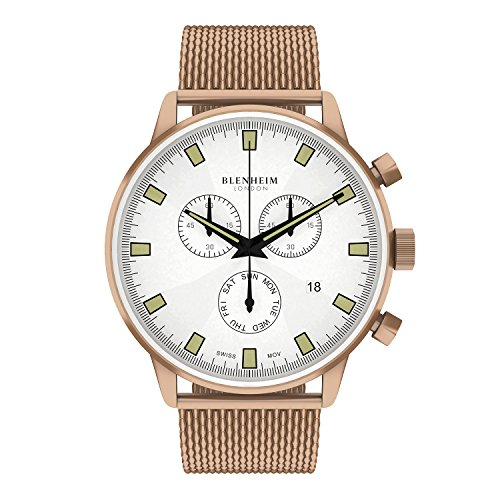 Blenheim London Chronomaster Pilot Uhr weiss Zifferblatt Rose Gold Fall mit Edelstahl Gurt