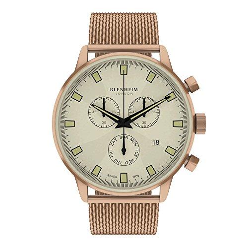 Blenheim London Chronomaster beige Zifferblatt Pilot Uhr mit Rose Gold Fall und Rose Gold Edelstahl Gurt