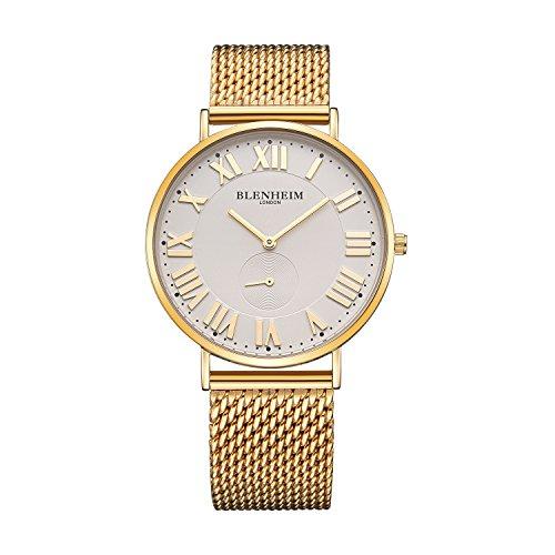 Blenheim London Herren Armbanduhr Sales weiss Zifferblatt und Silber Fall und Vintage Leder Gurt