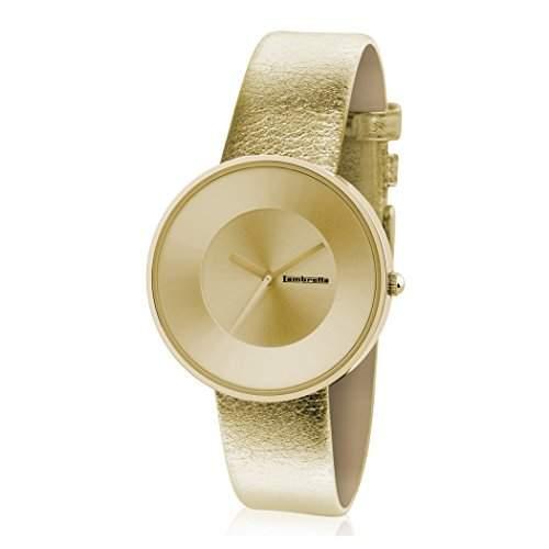 Lambretta Cielo Metallic Gold Edelstahl Leder Gold Frau Uhr