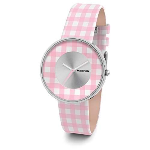 Lambretta Cielo Vichy Pink - Edelstahl Leder Pink und Weiss gingham Frau Uhr