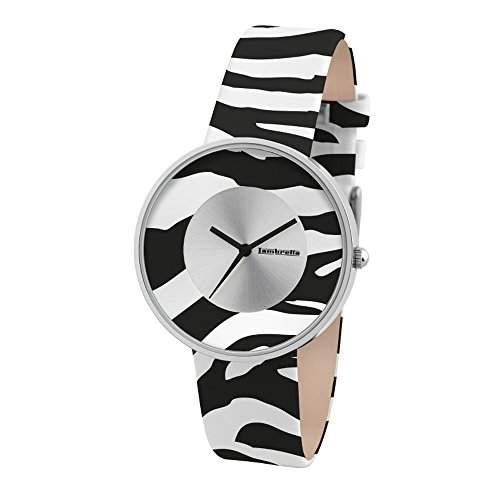 Lambretta Cielo Zebra Weiss - Edelstahl Leder Schwarz und Weiss Animal Print Frau Uhr